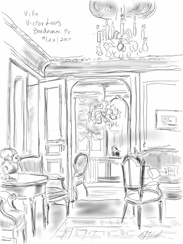 Une gravure de nos salons offerte par notre cliente Elizabeth Williams - Villa Victor Louis